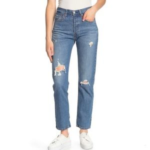 501 High Waist Distressed Jeans Button Fly